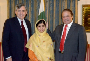 CENTER: Malala at New York on 26th September 2013. RIGHT: Prime Minister of Pakistan Nawaz Sharif. LEFT: White Man Sans Burden
