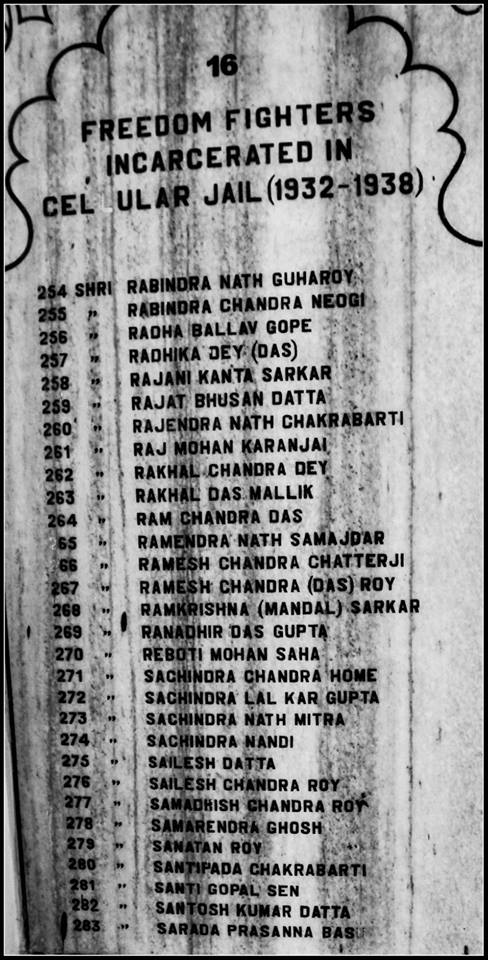 List of Indian Freedom Fighters held at the the notorious Cellular