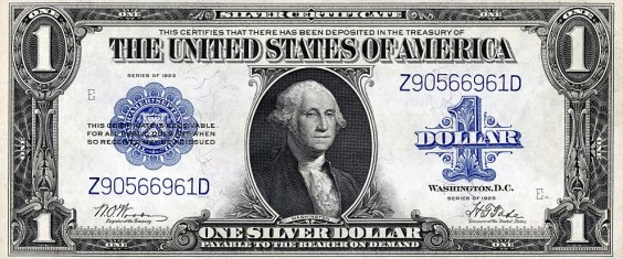 A $1 silver certificate from 1923. Note that there is no legal tender statement.