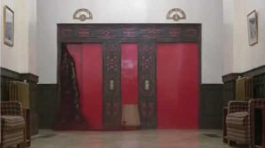The Overlook Hotel features these grand elevator doors. We never get to see them open because they are tightly shut....but despite that, blood keeps seeping from the other side.