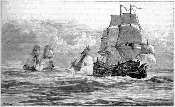 'Vintage engraving from 1878 showing the pirate Captain Henry Every chasing the Ganj-i-Sawai.
