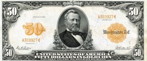 A $50 gold certificate from 1913. The note reads: