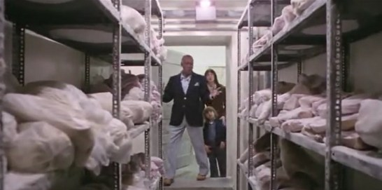 The Overlook Hotel's cold storage area....the meat resembles wrapped corpses.