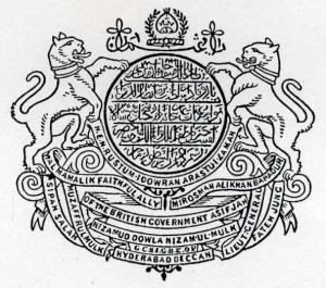 Arms: The name and titles of the Nizam in arabic. Crest: The motto alazmat ulla in arabic and the royal turban within a garland. Supporters: Two tigers collared. Motto: 1. h.e.m. rustum idowran arastui zaman. 2. sipah salar muzaffulmulk walmamalik faithful ally of the british govern- ment asif jah mir osman ali khan bahadur lieut. general fateh jung. 3. nizamud dowla nizam ul mulk 4. hyderabad deccan In between 3 and 4: g c s i g b e o v.