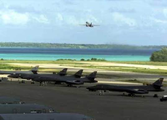 American military aircraft at Diego Garcia.