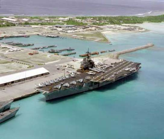 An American aircraft carrier at Diego Garcia.