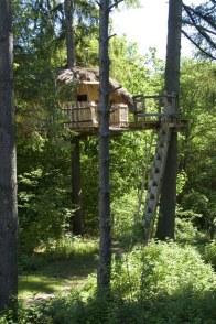 La cabane du chef, une cabane perchée à environ 6/7 mètres de haut, pour 3 personnes, enfant à partir de 10 ans