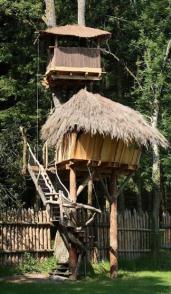 La cabane du druide, une cabane perchée à 5 mètres et l'échelle de Papou vous fera accéder à la terrasse au dessus du toit de la cabane à 8 mètres pour une capacité de 2 personnes à partir de 10 ans.