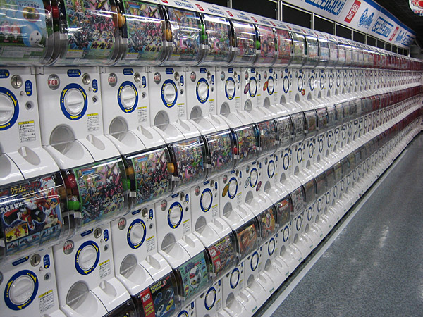 Giant line of Gashapon machines.