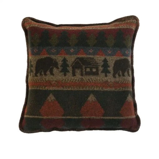 Cabin Bear Rustic Pillow