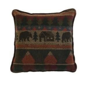 Cabin Bear Rustic Pillow