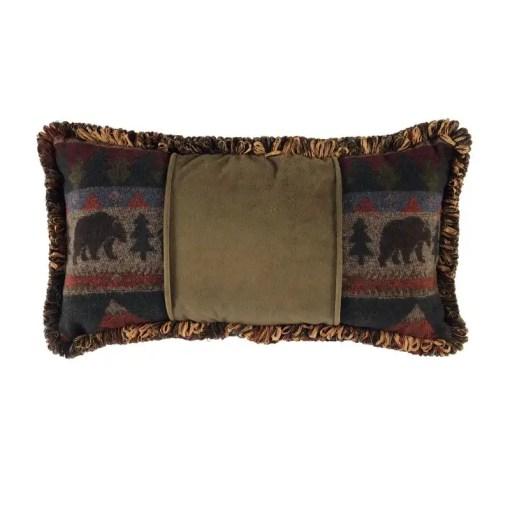 Cabin Bear Pine Velvet Pillow