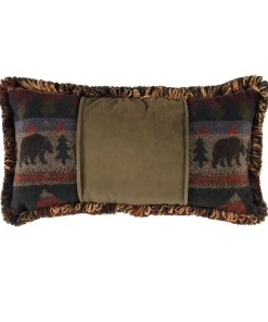 Cabin Bear Pine Velvet Pillow