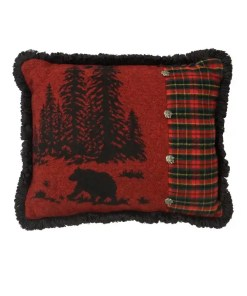 Wooded Bear Cabin Throw Pillow