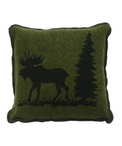 Moose Hunter Green Pillow