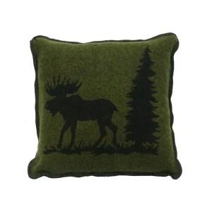 Moose Hunter Green Pillow