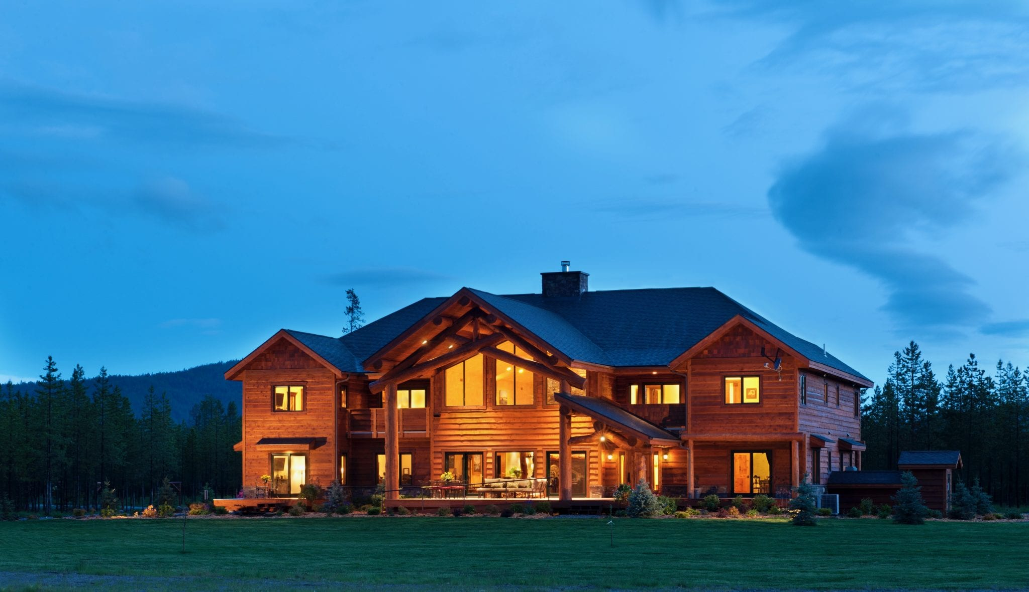 Cabin Creek Landing Bed and Breakfast all wooden lodge in the evening wedding venue
