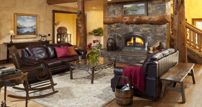 rustic common area with beautiful fire place