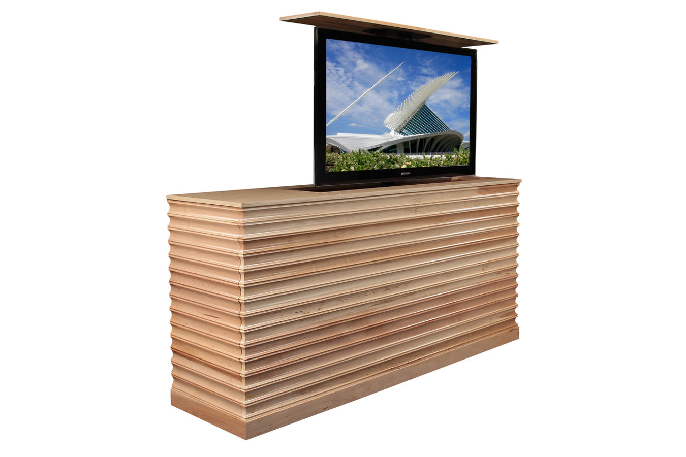 Raising tv cabinet  Accord Maple TV lift cabinet