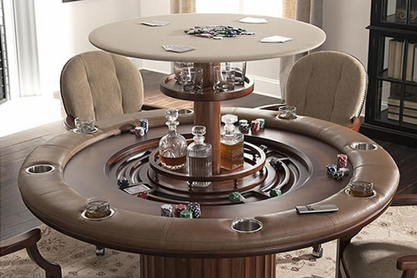 custom made living room furniture walls painted gray poker table with hidden bar - cabinet-tronix