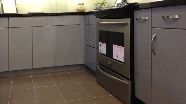DISCONTINUED High Gloss Grey Flat slab panel Cabinets