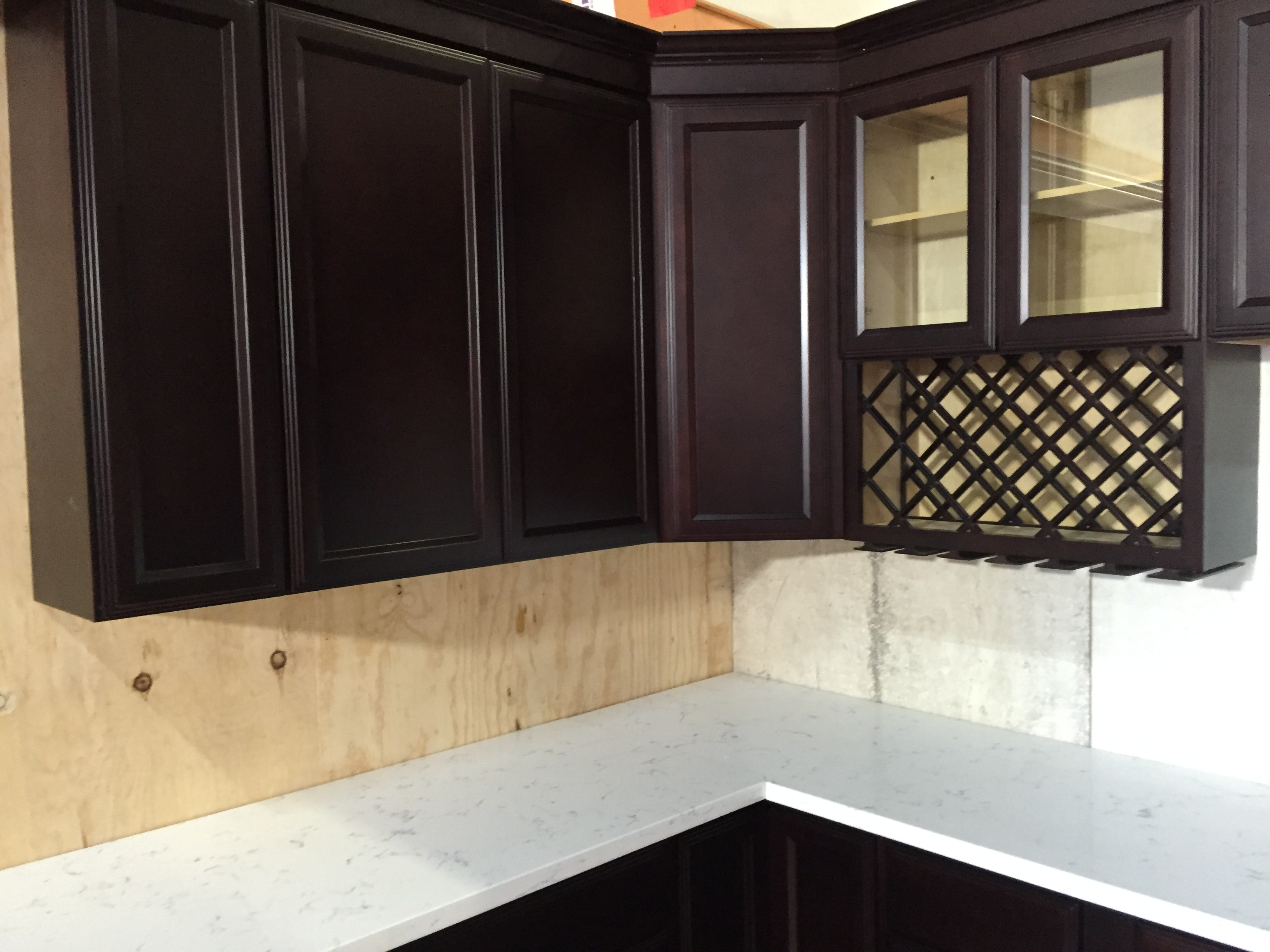 Espresso Colored recessed Panel Kitchen Cabinets