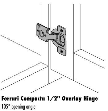 Saves $2 per pair versus Blum hinge 6 way adjustable