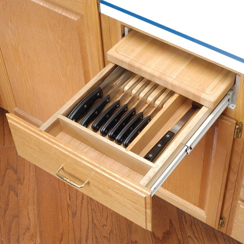 kitchen cabinet shelf inserts prefabricated outdoor rev-a-shelf combo knife holder/cut. board wood 4kcb-18 ...