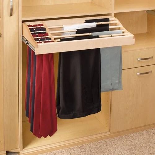 RevAShelf 30 inch Pants And Tie RackWood CWPTR30142