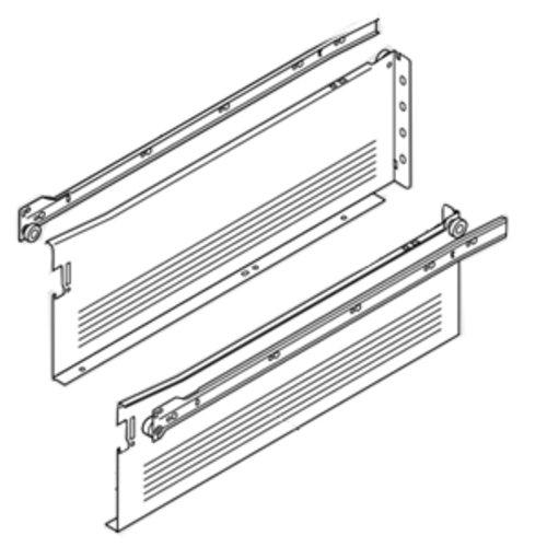 Blum Metabox Slide 6 inch H x 20 inch L- White with Front