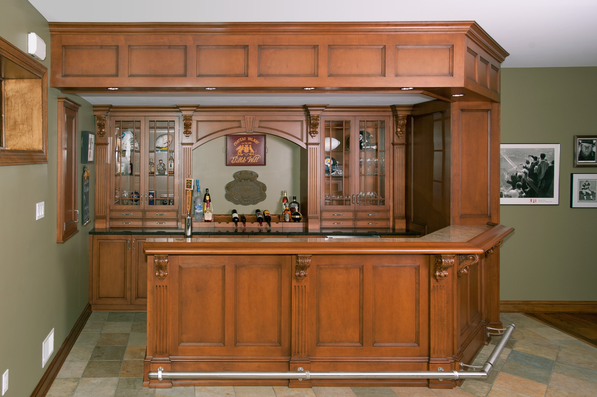 Irish Pub Home Bar  Custom Cabinetry by Ken Leech