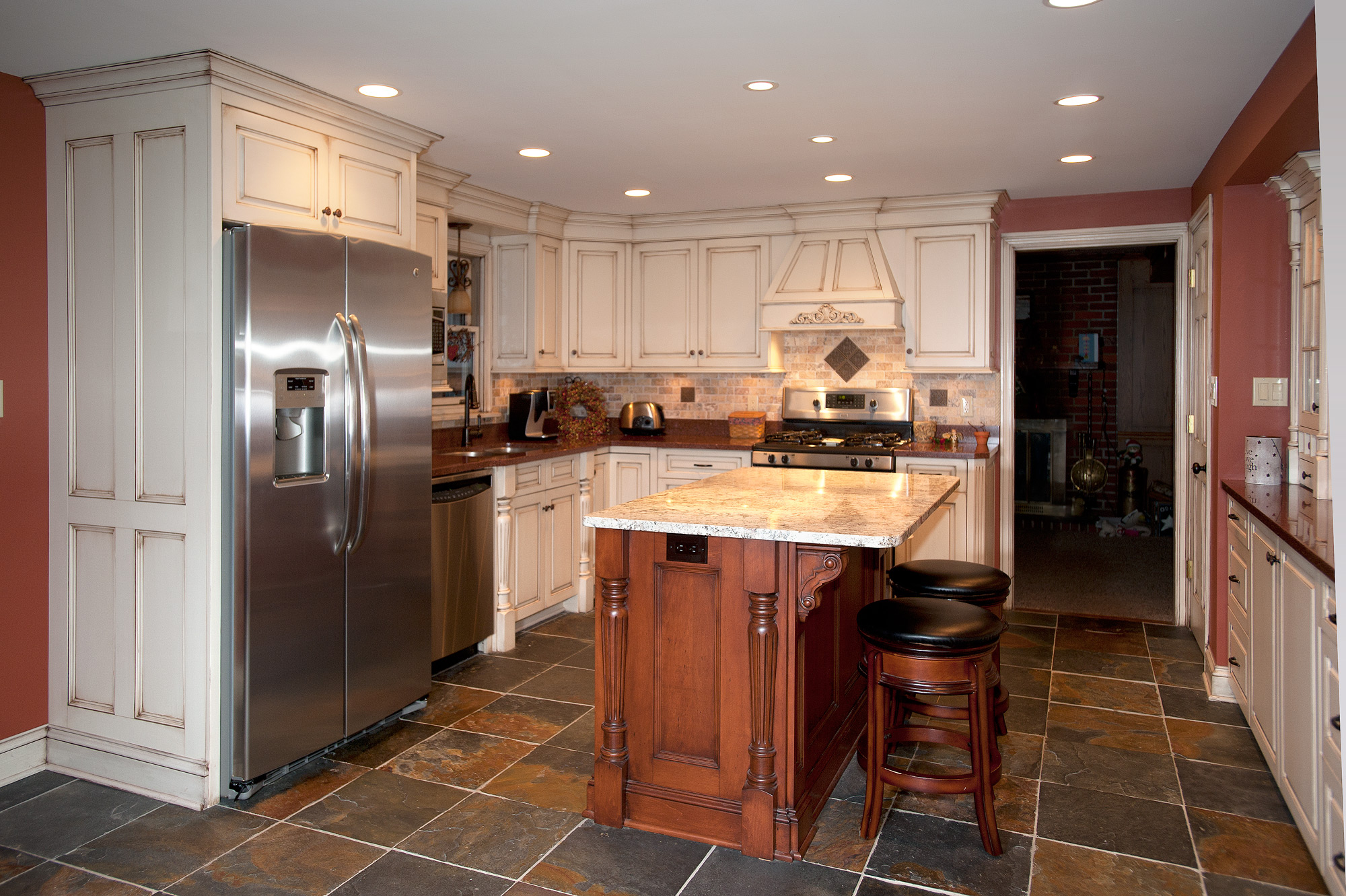 Painted Kitchen with Accent Island  Custom Cabinetry by