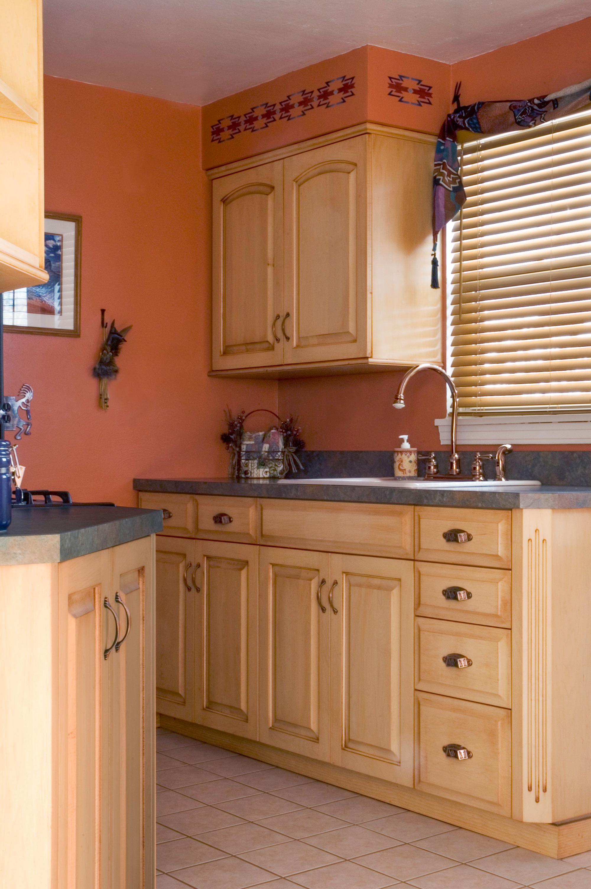 southwest kitchen contemporary island custom cabinetry by ken leech small with theme maple raised panel doors hand rubbing and glazing creates additional texture accent corner shelf fluted