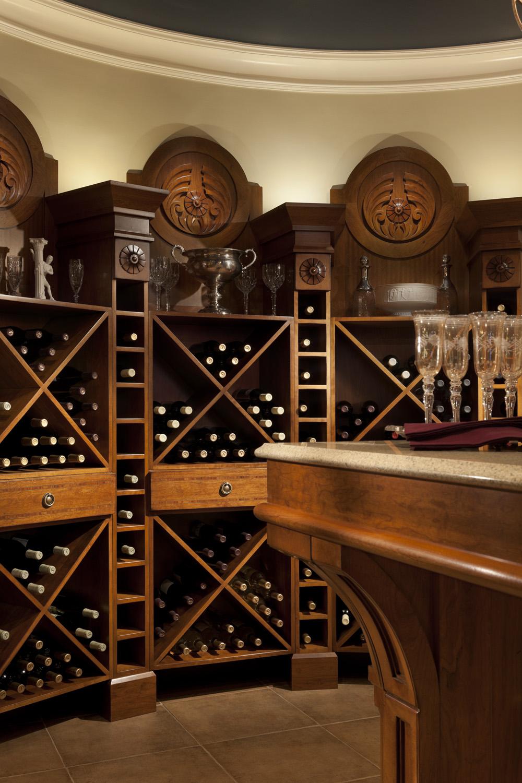 WoodMode Passage Wine Rack Wall  Custom Cabinet Designs