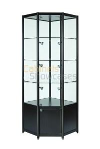 Aluminium Corner Glass Display Cabinet With Storage