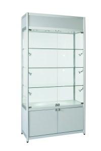 Aluminium Double Door Glass Display Cabinet Storage & Top ...