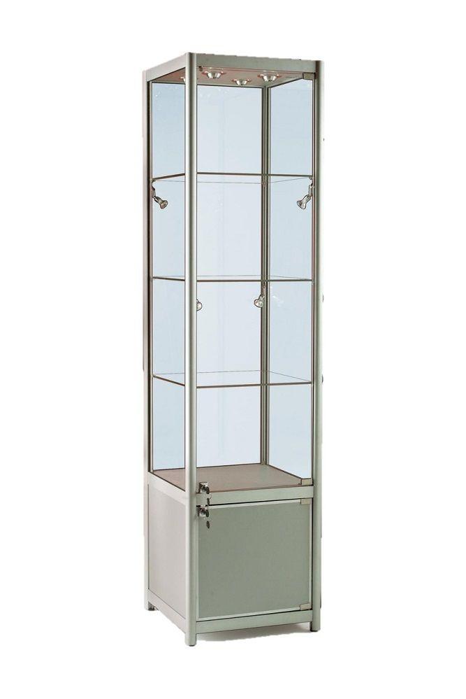 500mm Aluminium Single Door Glass Display Cabinet Lockable