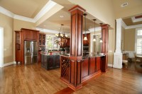 Tall ceilings in kitchen with island | Custom Wooden ...