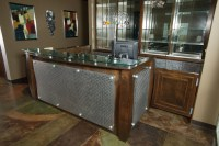 Wood and Metal Reception Desk   Custom Wooden Cabinets and ...