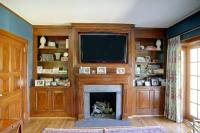 fireplace surround tv shelves and cabinet | Custom Wooden ...