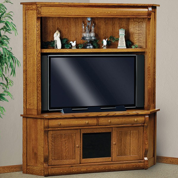 Corner TV Cabinet with Hutch