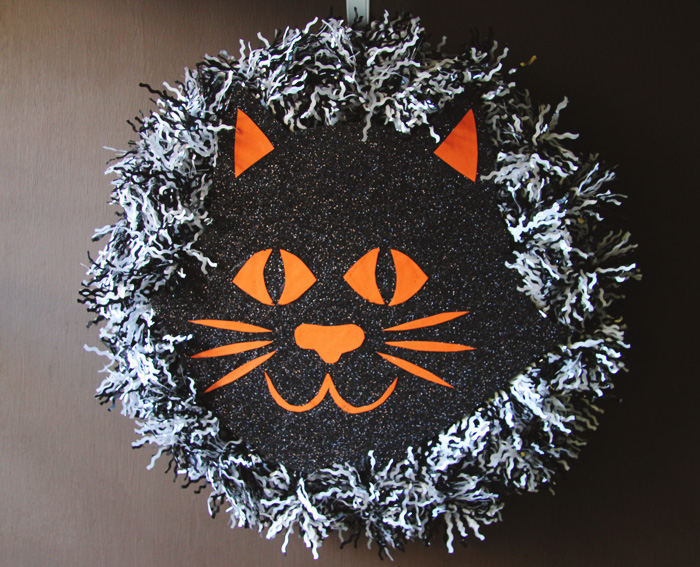 Halloween Cat Wreath Craft