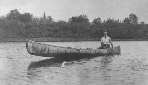 Franklin D. Roosevelt in his birchbark canoe at Campobello Island, New Brunswick, Canada.