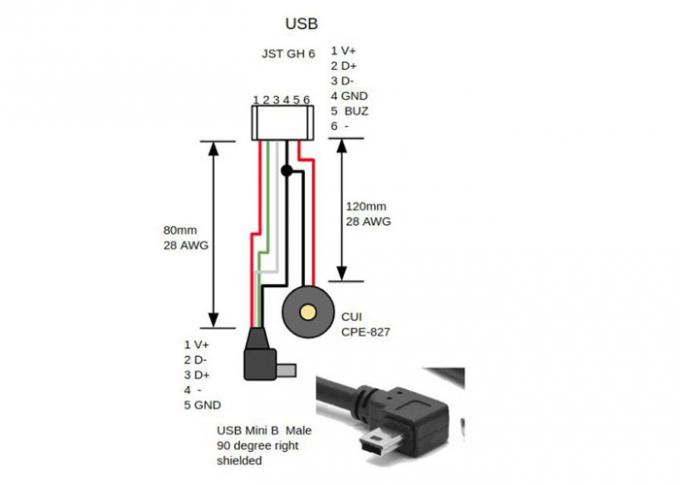 Jst Ghr-06v-S To Usb Mini B Male 90 Degree Right Shielded