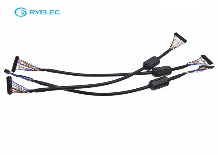 20 Pin Custom Black LVDS Cable Assembly With TDK 40ohm
