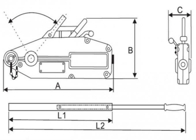 0.8T Tirfor Cable Puller , Manual Lever Winch With 20M
