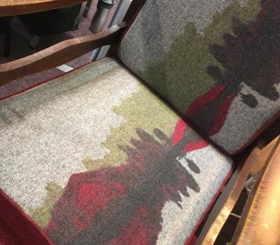 Antique chair reupholstered in Cable and Blake Bleawater Crag fabric