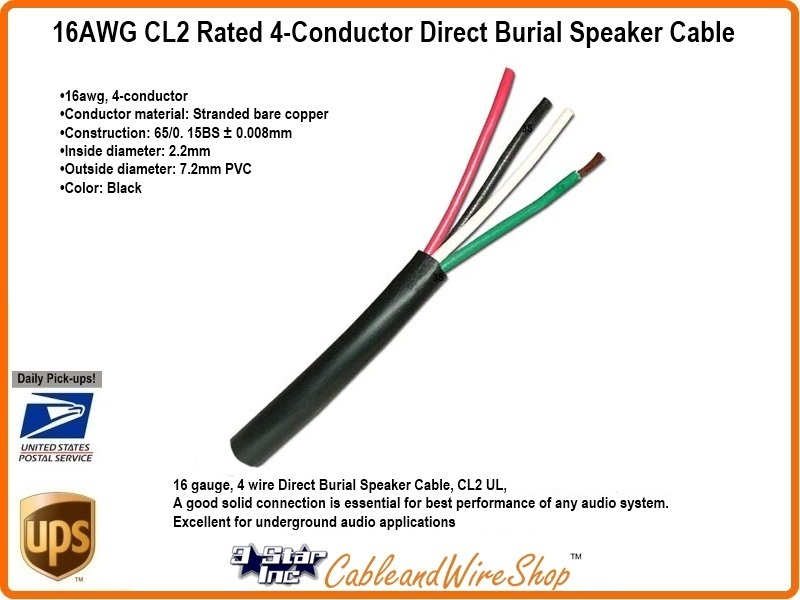 3 5 Mm Audio Jack Wiring Diagram 4 Conductor 16awg Stranded Copper Cl3 Direct Burial