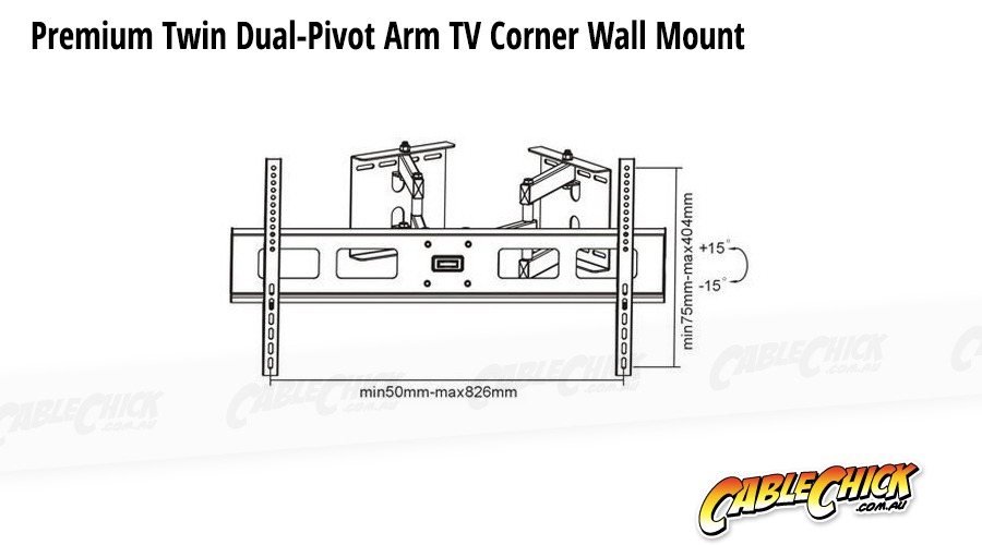 Premium Corner TV Wall Mount with Twin Dual-Pivot Arms
