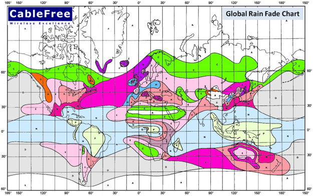 CableFree Microwave planning with ITU Rain Fade Global Map
